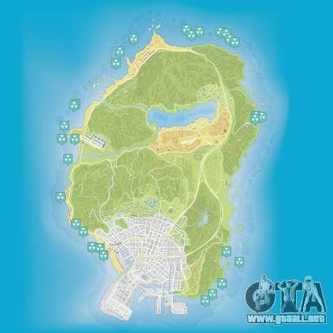 Mapa de los residuos nucleares en Grand Theft Auto 5