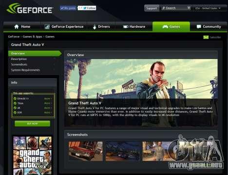 GeForce Experience controladores para GTA 5