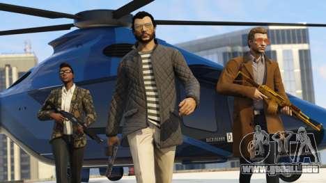 los chicos Cool con el Volatus en el fondo en GTA Online