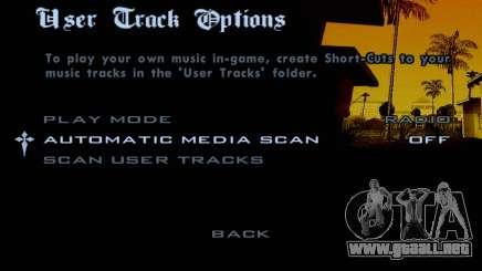 El menú de música en GTA SA