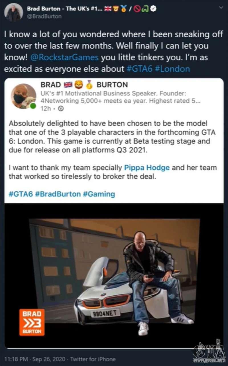Brad Burton tweet sobre GTA 6