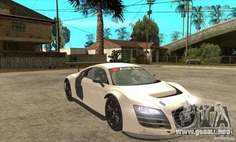 Audi R8 LMS v1 para GTA San Andreas vista hacia atrás