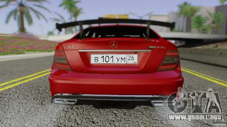Mercedes Benz C63 AMG Black Series 2012 para vista lateral GTA San Andreas