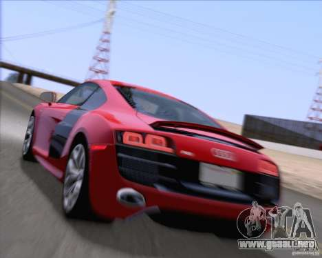 Audi R8 v10 2010 para la vista superior GTA San Andreas