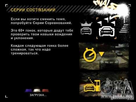 Cargando las pantallas en el estilo de NFS: Most para GTA San Andreas tercera pantalla