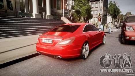 Mercedes-Benz CLS 63 AMG 2012 para GTA 4 vista desde abajo