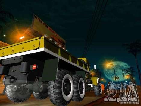 Camión KrAZ desfile para GTA San Andreas vista posterior izquierda