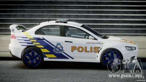 Mitsubishi Evolution X Police Car [ELS] para GTA 4 left