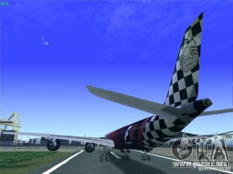 Airbus A340-600 Etihad Airways F1 Livrey para GTA San Andreas vista posterior izquierda