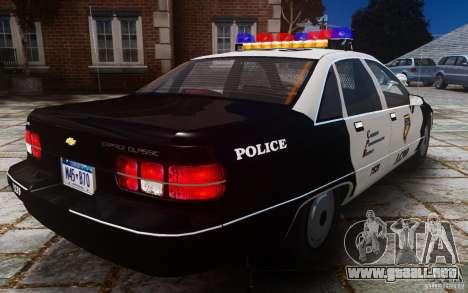Chevrolet Caprice 1991 Police para GTA 4 vista hacia atrás