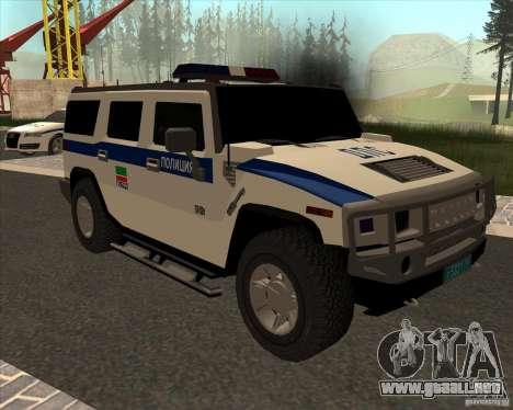 Hummer H2 DPS para GTA San Andreas vista hacia atrás