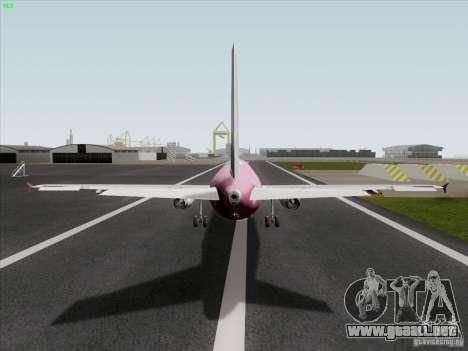 Airbus A319 Spirit of T-Mobile para GTA San Andreas vista posterior izquierda