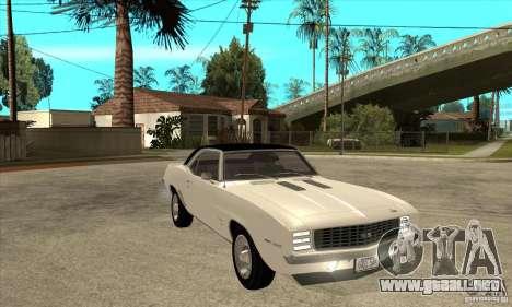 Chevrolet Camaro SS - Stock para GTA San Andreas vista hacia atrás