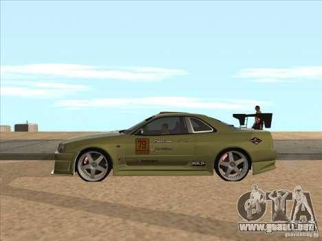 Nissan Skyline R34 VeilSide para vista inferior GTA San Andreas