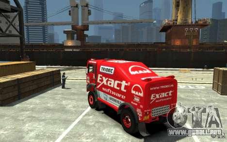 MAN TGA Rally Truck para GTA 4 Vista posterior izquierda