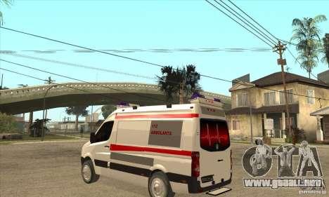 Volkswagen Crafter Ambulance para GTA San Andreas vista posterior izquierda