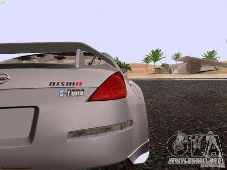 Nissan 350Z Nismo S-Tune para GTA San Andreas vista hacia atrás