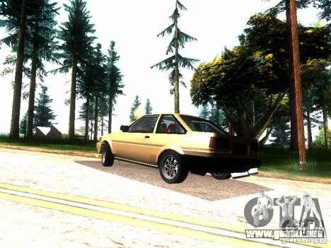 Toyota Corolla AE86 Levin para GTA San Andreas vista posterior izquierda