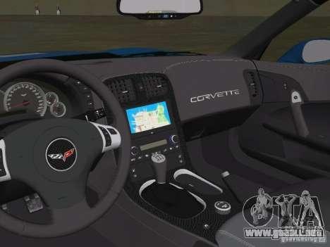 Chevrolet Corvette ZR1 para GTA Vice City vista posterior