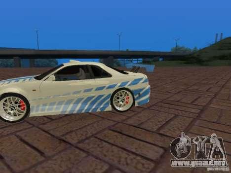 Nissan Skyline GT-R R34 Tunable para la vista superior GTA San Andreas
