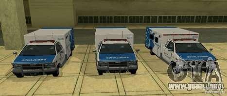 Ambulancia de GTA 4 para GTA San Andreas vista posterior izquierda