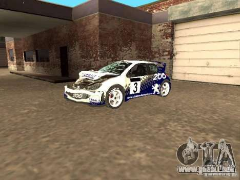 Peugeot 206 WRC de Richard Burns Rally para vista lateral GTA San Andreas