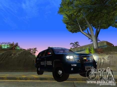 Chevrolet Tahoe 2008 Police Federal para GTA San Andreas vista hacia atrás