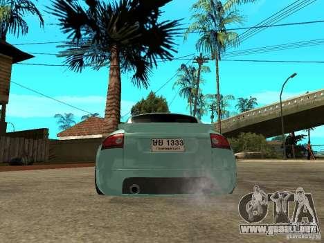 Audi TT para GTA San Andreas vista posterior izquierda