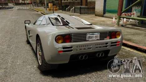 McLaren F1 1995 para GTA 4 Vista posterior izquierda