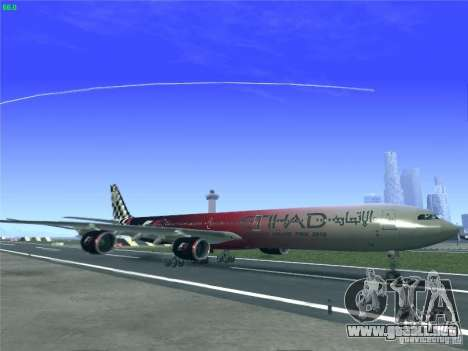 Airbus A340-600 Etihad Airways F1 Livrey para GTA San Andreas left