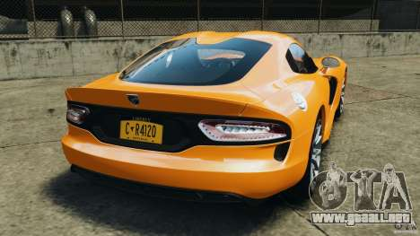 SRT Viper GTS 2013 para GTA 4 Vista posterior izquierda