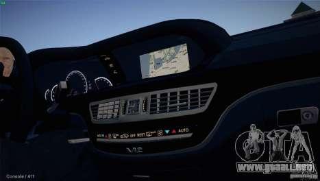 Mercedes-Benz S65 AMG para GTA San Andreas vista posterior izquierda
