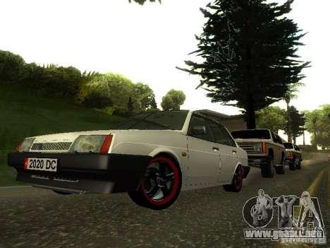 VAZ 21099 v. 2 para GTA San Andreas vista hacia atrás