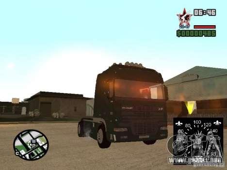 DAF XF para GTA San Andreas vista posterior izquierda
