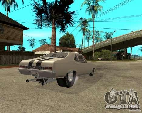 1969 Chevrolet Nova ProStreet Dragger para GTA San Andreas vista posterior izquierda