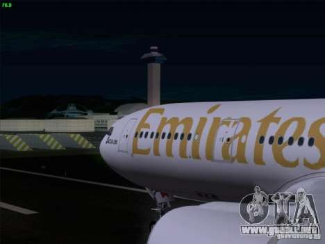 Airbus A330-200 Emirates para visión interna GTA San Andreas