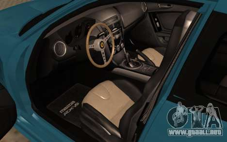 Mazda RX8 VIP para GTA San Andreas vista hacia atrás