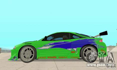 Mitsubishi Eclipse FnF para GTA San Andreas vista posterior izquierda