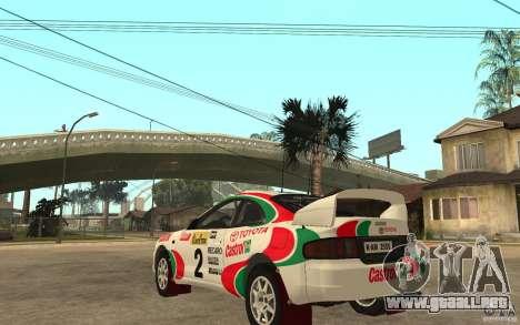 Toyota Celica GT4 DiRT para GTA San Andreas vista posterior izquierda