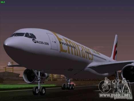 Airbus A330-200 Emirates para GTA San Andreas vista hacia atrás