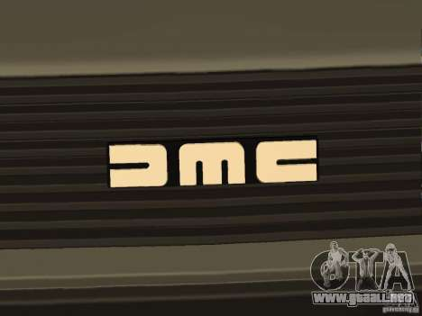 DeLorean DMC-12 para GTA San Andreas vista hacia atrás