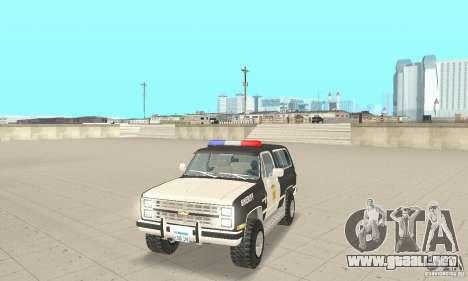 Chevrolet Blazer Sheriff Edition para GTA San Andreas left