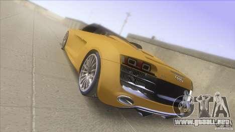 Audi R8 5.2 FSI Spider para GTA San Andreas vista posterior izquierda