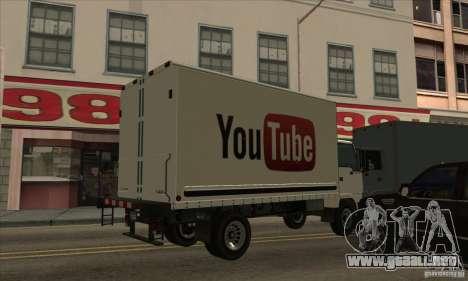 Camión con logotipo de YouTube para GTA San Andreas left