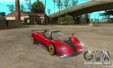 Pagani Zonda Tricolore V1 para GTA San Andreas vista hacia atrás