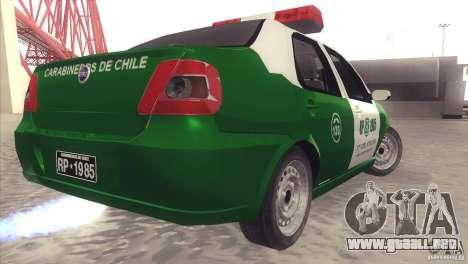 Fiat Siena Carabineros De Chile para GTA San Andreas vista posterior izquierda