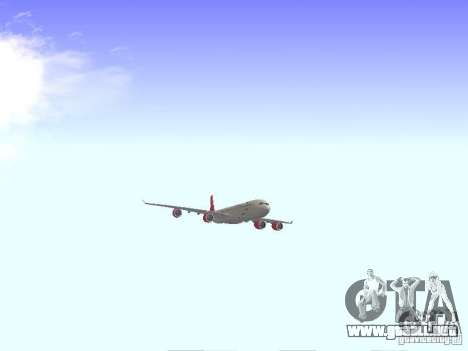 Airbus A340-600 Virgin Atlantic para GTA San Andreas vista hacia atrás