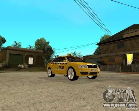 Skoda Superb TAXI cab para GTA San Andreas vista hacia atrás