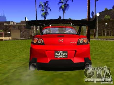 Mazda RX-8 R3 Tuned 2011 para GTA San Andreas vista hacia atrás