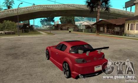 Mazda RX8 para GTA San Andreas vista posterior izquierda